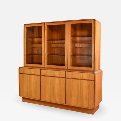 Dyrlund Teak veneer mid century scandinavian modern two piece china hutch buffet cabinet