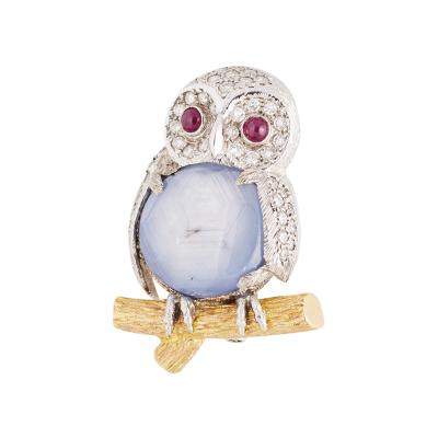 E Wolfe and Co E Wolfe Star Sapphire Owl Brooch
