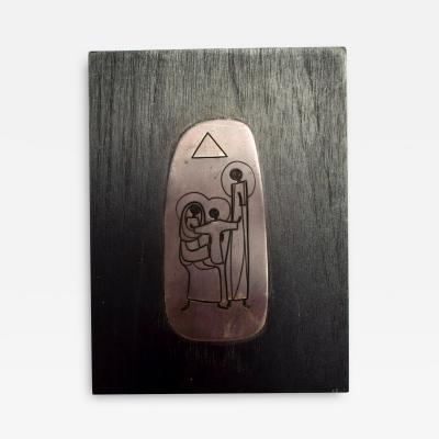 EMAUS Emaus Abstract Modern La Sagrada Familia Sculpture Mahogany Silver Plaque