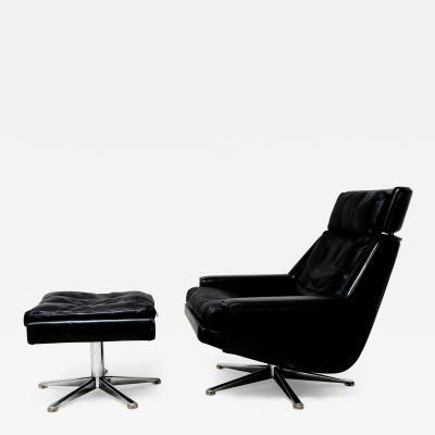 ESA Denmark Mid century swivel chair and ottoman by Werner Langenfeld Eva M belv rk