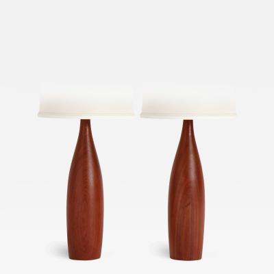 ESA Denmark PAIR OF TURNED TEAK TABLE LAMPS