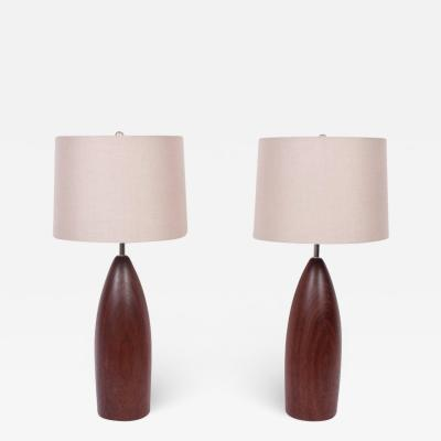ESA Denmark Tall Pair of ESA Danish Modern Turned Solid Dark Teak Table Lamps circa 1960