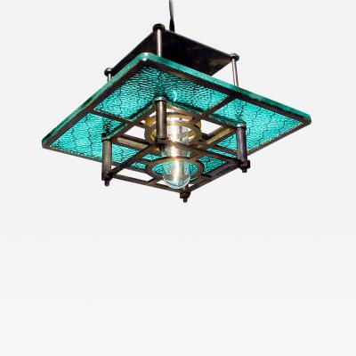 Early Electrics LLC Skeletal Industrial Blue Wire Glass Pendant Lamps