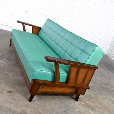 Economy Furniture A brandt ranch oak style turquoise vinyl convertible sofa daybed
