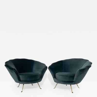 Edra Pair of Scalloped Back Lounge Chairs