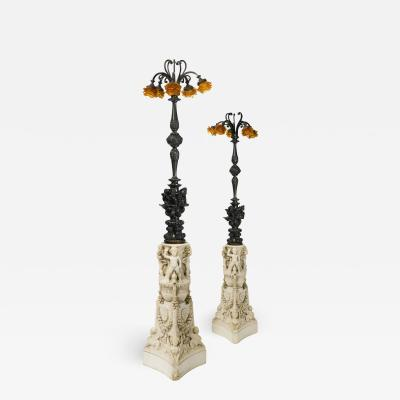 Edward F Caldwell Co Caldwell Lighting A pair of N o Renaissance carved marble and patinated bronze floor lamps