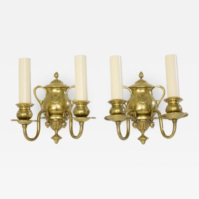 Edward F Caldwell Co Caldwell Lighting Early 20th Century Traditional E F Caldwell Brass Sconces a Pair
