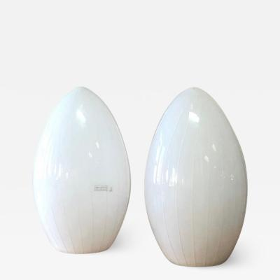 Effetre International Pair of White Murano Ovoid Table Lamps by Effetre International 1980s