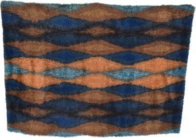 Ege Rya Cool Azure Blue Geometric Pattern Ornamental Rug Tapestry Ege Rya Denmark 1960s