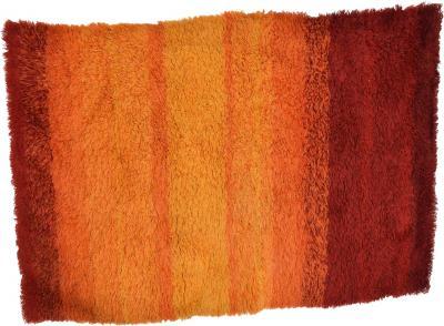 Ege Rya Vibrant Orange Ornamental Rya Rug Tapestry Denmark 1960s Scandinavian Modern