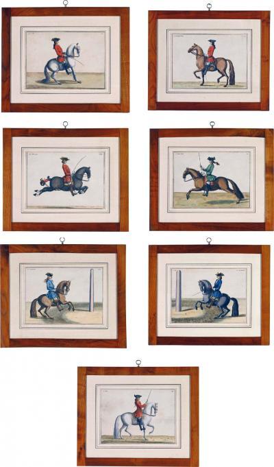 Eisenberg Baron DEisenberg Set of Seven Horse Dressage Riders