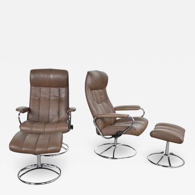 Ekornes Stressless Ekornes stressless scandinavian modern pair lounge chairs ottomans