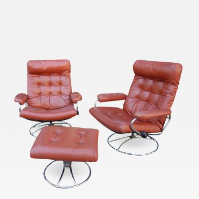 Ekornes Stressless   Midcentury Reclining Stress Less Lounge Chairs And  Ottoman By Ekornes