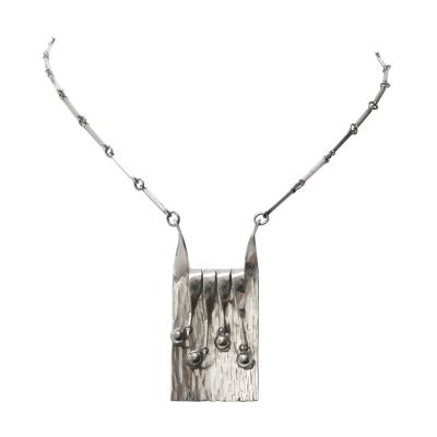 Eksjo Scandinavian Modern Silver Necklace and Pendant by Eksjo