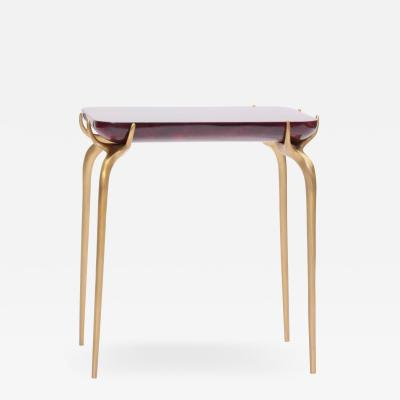 Elan Atelier Jewel Side Table in Ruby Parchment