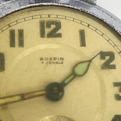 Elgin ROSPIN 7 Jewels Swiss Made Pocket Watch Antique Art Deco Travel Clock 1920s