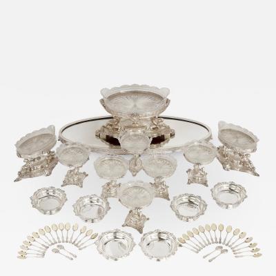 Elkington Co Extensive silver plate table service by English firm Elkington