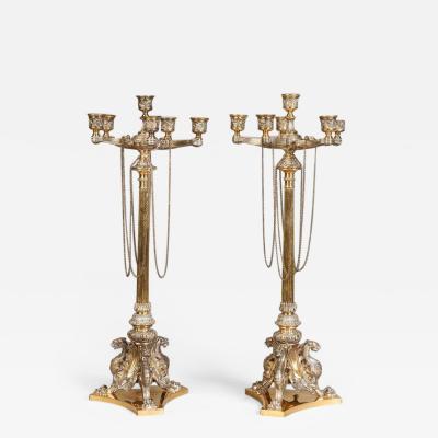 Elkington Co Pair of Antique Elkington Co Plated and Parcel Gilt Candelabra