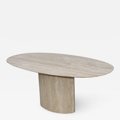 Ello Furniture Co 1970s Italian Travertine Oval Dining Table Attributed To Ello