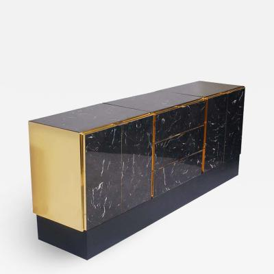 Ello Furniture Co Hollywood Regency Tessellated Black Marble and Brass Credenza or Cabinet by Ello