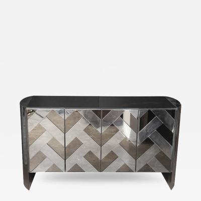 Ello Mid Century Modern Vintage Smoked Glass and Mirror Credenza or Sideboard