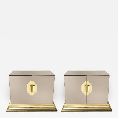 Ello Pair of Vintage Mirrored Chests Nightstands with Brass Handles