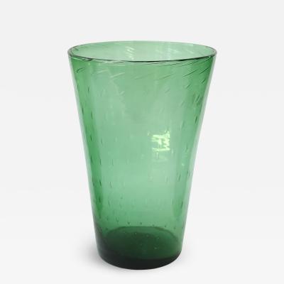 Empoli Italian Green Glass Vase by Empoli
