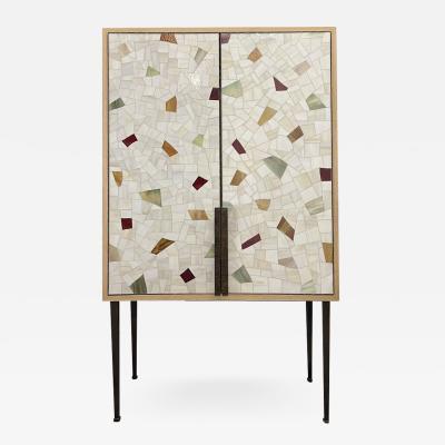 Ercole Home Vetrazzo Terracotta 2 Door Bar Cabinet