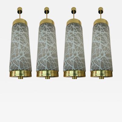 Esperia Ceiling Pendants Chandelier Brass Murano Glass by Esperia Italy 1990s