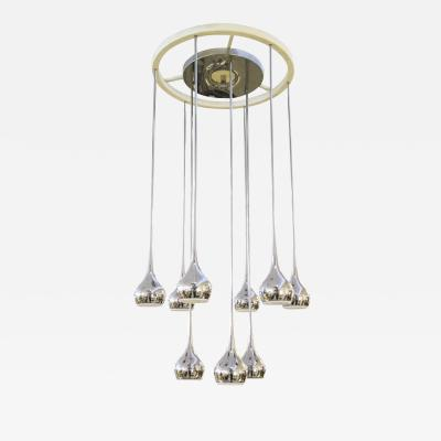 Esperia Esperia Signed 9 Chrome Lamps Mid Century Modern Chandelier or Flush Mount