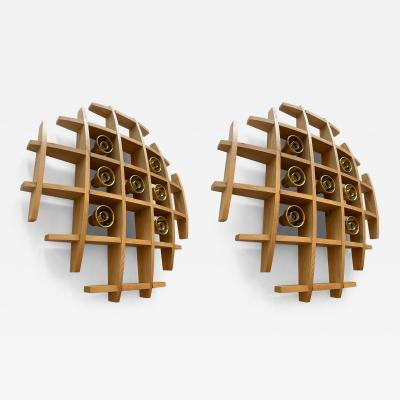 Esperia Pair of Wood and Brass Sconces Ceiling by Esperia Italy 1970s