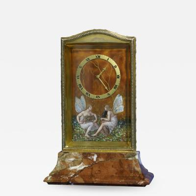 Eterna Watch Co c 1910 Swiss Gilt Silver Enamel and Variegated Marble Desk Clock
