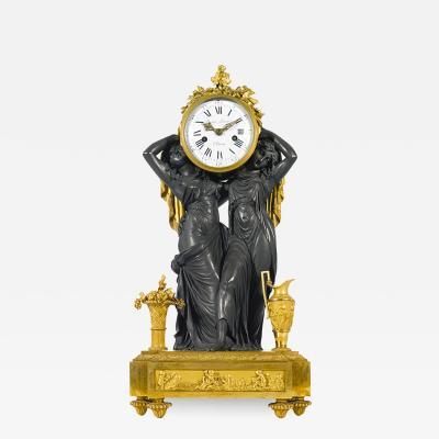 Etienne Lenoir Louis XVI style gilt and patinated bronze Mantel Clock by tienne LeNoir