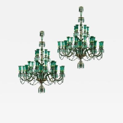 F C Osler Two Large Green and Parcel Gilt Glass Chandeliers by Osler for Indian Market
