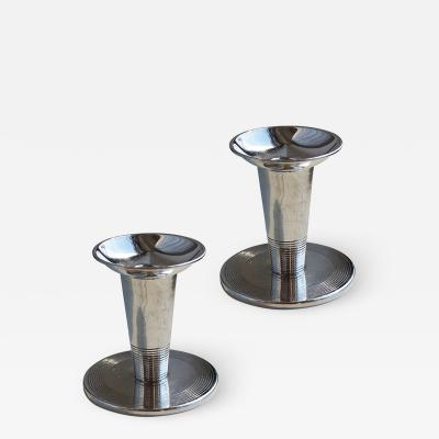 FAK Fabriksaktiebolaget Kronsilver Pair of Functionalist Candlesticks by Nils Fougstedt for FAK