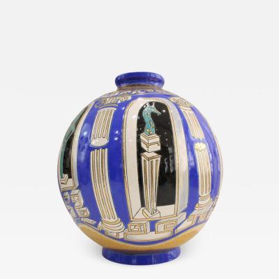 Fa enceries et Emaux de Longwy Vase Emaux de Longwy M taphore by V Darr