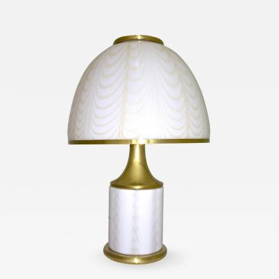 Fabbian 1970s Fabbian by Mazzega Double Lit White and Gold Glass Round Table Lamp