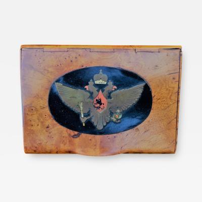 Faberg 1880s Imperial Russian Faberge Romanov Burl Wood Presentation Cigarette Case