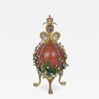 Faberg Lillies of the Valley Signed Faberge Egg
