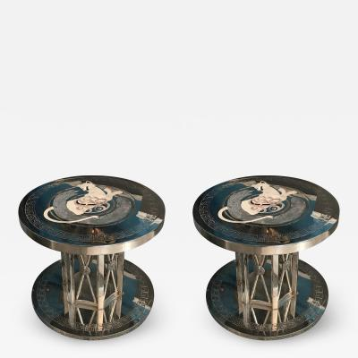 Faberg STUNNING PAIR OF NICKELED BRONZE INLAID STONE MODERN TABLES