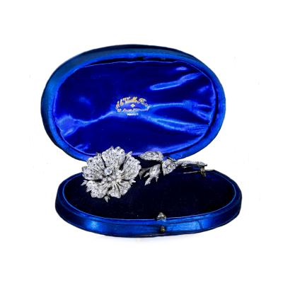 Faberg Victorian Era Large Diamond Set Trembolee Brooch attributed to Faberg