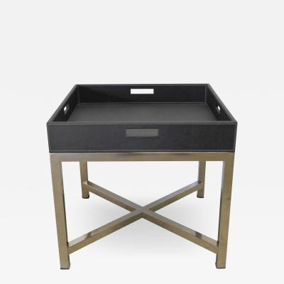 Fabio Ltd Black Leather and Stainless Steel Tray Table