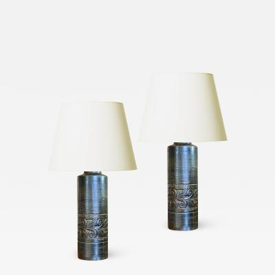 Fagerhults Pair of Faux Bois Table Lamps by Fagerhults Ljusarmatur