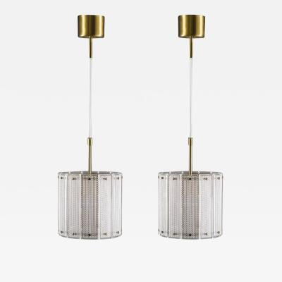 Falkenberg Pair of Swedish Mid Century Modern Pendants in Glass and Brass