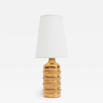 Falkenbergs Belysning Gold glazed ceramic table lamp by Falkenbergs Belysning of Sweden circa 1960s