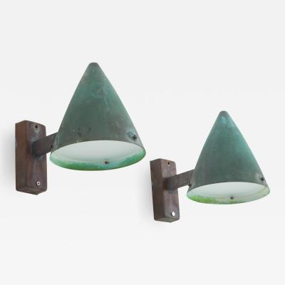 Falkenbergs Belysning Pair of Swedish Outdoor Wall Lamps in Copper by Falkenbergs Belysning