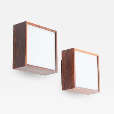 Falkenbergs Belysning Pair of Wall Lamps Sconces in Rosewood and Glass by Falkenbergs Sweden
