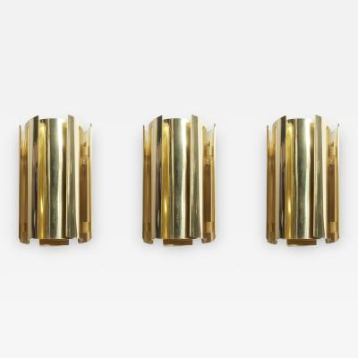 Falkenbergs Belysning Set of Three Brass Wall Sconces by Falkenbergs Belysning