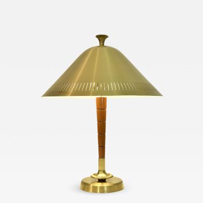 Falkenbergs Belysning Swedish Art Deco Brass and Beech Table Lamp by Falkenbergs Belysning 1930 s