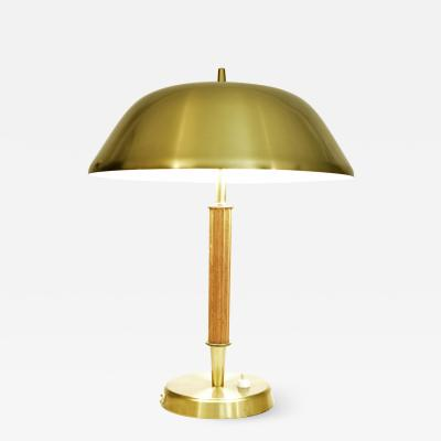 Falkenbergs Belysning Swedish Art Deco Brass and Oak Table Lamp by Falkenbergs Belysning AB 1940 s
